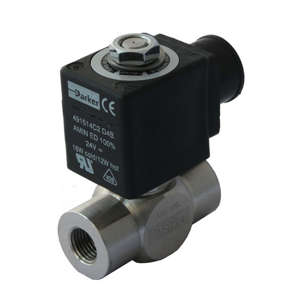 "PARKER 2-WAY NORMALLY OPEN, 1/4"" GENERAL PURPOSE SOLENOID VALVES"