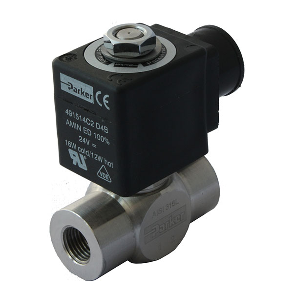 "PARKER 2-WAY NORMALLY OPEN, 1/8"" GENERAL PURPOSE SOLENOID VALVES"